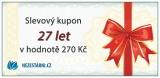 Slavíme 27 let - slevový kupon 270 Kč a 5 dárků pro vás